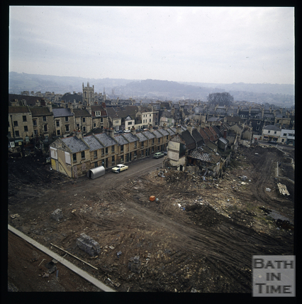 Snowdon. View towards Lampard's Buildings and Morford Street, Bath 1972