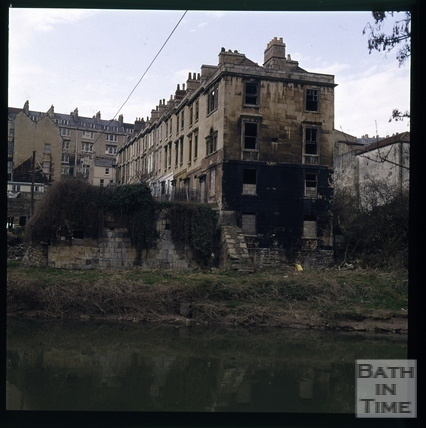 Snowdon. Chatham Row from River Avon after fire testing, Bath 1972