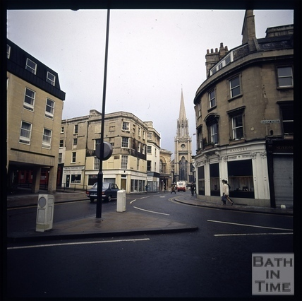 Snowdon High Street and Bridge Street corner, Bath 1972