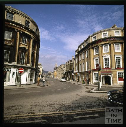 Snowdon. Outside Bath Spa Station at Manvers Street, Bath 1972