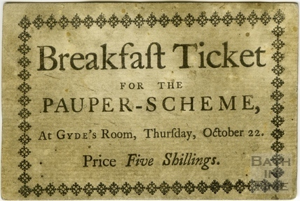 Breakfast Ticket for the Pauper Scheme, 1767, 1772 or 1778