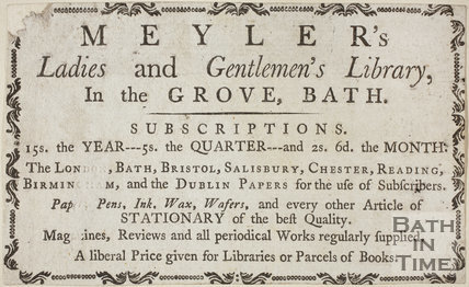 Meyler's Ladies and Gentlemen's Library, in the Grove, Bath c.1781