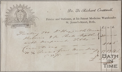 Dr. To Richard Cruttwell, St. James's Street, Bath