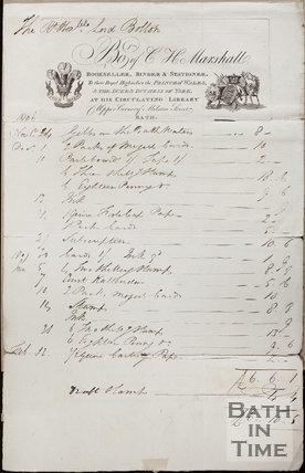 Bought of C.H. Marshall, Bookseller, Binder & Stationer, Milsom Street, Bath 1806