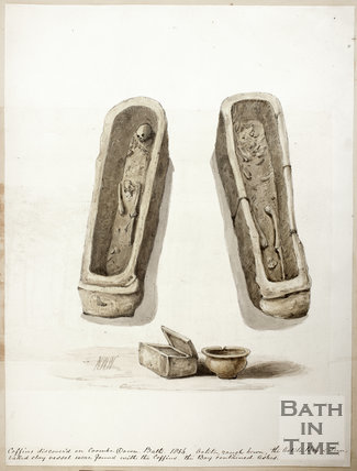 Coffins discovered on Combe Down, Bath 1854