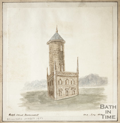 Ralph Allen's Monument, Monument Fields, Combe Down, Bath 1850