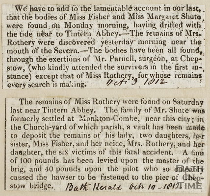 Drowning of Miss Fisher and Miss Margaret Shute, Monkton Combe 1812