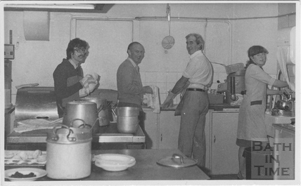 Washing up after Christmas Lunch, Electricity House, Dorchester Street, Bath c.1980