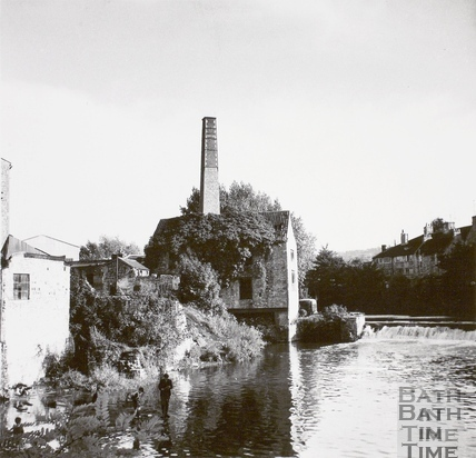 Wheel House? On Weston Island looking upstream from Twerton Weir, Bath 1964