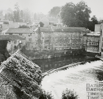 Looking across the Island, Cook's Factory and Twerton Weir, Bath 1964