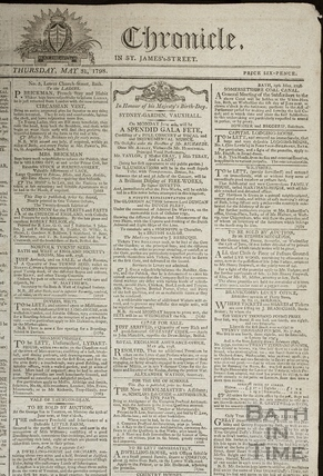 Bath Chronicle extract including Sydney Gardens, Vauxhall, Bath 1798