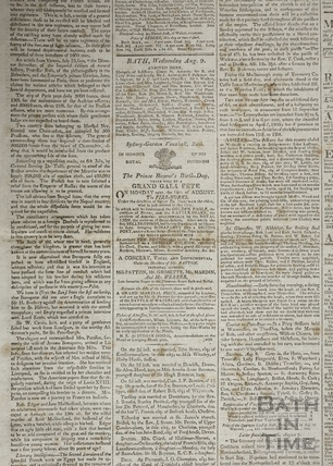 Bath Chronicle extract including Sydney Gardens, Vauxhall, Bath 1815