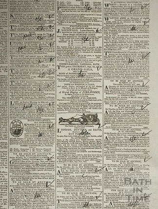 Bath Chronicle extract including Sydney Gardens, Vauxhall, Bath 1812