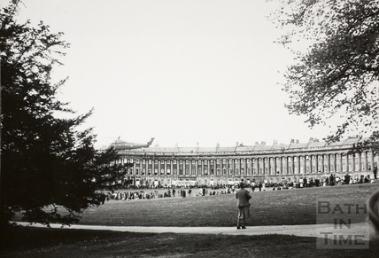 Helicopter landing in front of the Royal Crescent, Bath