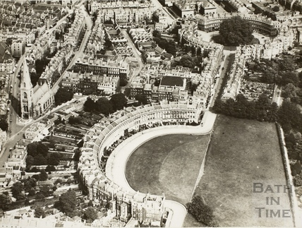 c.1930 Aerial view of Royal Crescent and Circus, Bath