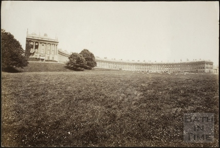 The Royal Crescent with sheep grazing below, Bath c.1890