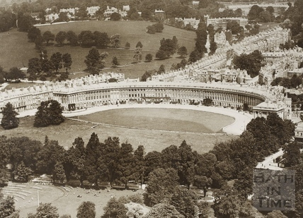 Aerial view of the Royal Crescent, Bath 1840