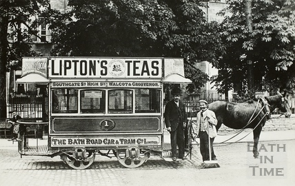 Horse Tram on London Road, Bath c.1900