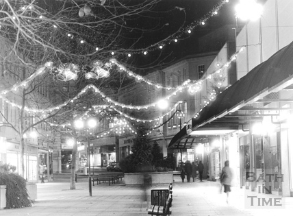 Southgate Shopping Centre with Christmas lights and decorations 1984