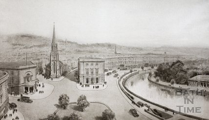 Northgate Street and the redeveloped area between Walcot Street and the River as viewed from the Library (Bridge Street), Bath