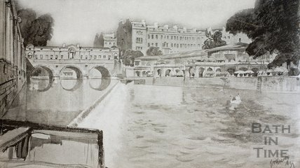 The proposed Riverside Cafe from below the City Weir, Bath