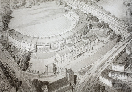 Rear of the Royal Crescent viewed from N.E. shewing proposed new Council Chamber and Committee Rooms, Bath