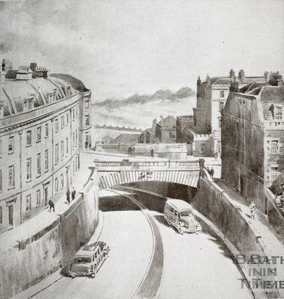 An impression of the Proposed East-west Route (Julian Road) passing under Lansdown Road, Bath