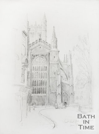 East end of the Abbey Church from Orange Grove, Bath 1930s
