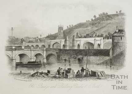 Old Bridge and Railway Viaduct, Bath c.1856