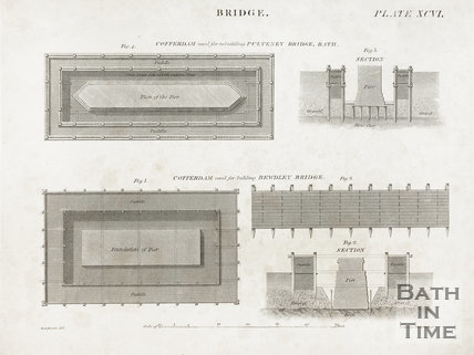Illustration of Coffer Dam used for rebuilding Pulteney Bridge, Bath