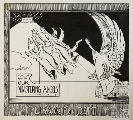 Libraries Dept. artwork for advertisement, Bath 1934
