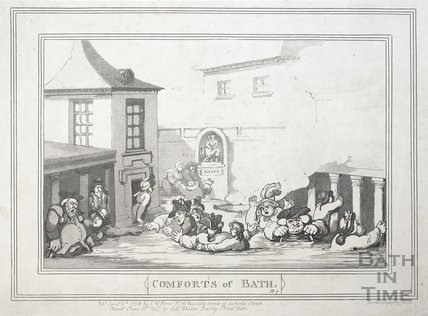Comforts of Bath, Plate 7. The King's Bath 1798, republished 1857 - detail