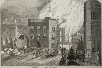 Fire at Mr. Butcher's soap and candle factory, 4, Sawclose 1846