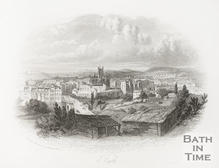 View over North Parade Bridge, recreation ground towards Bath Abbey, Bath 1841