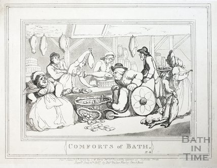 Comforts of Bath, Plate 4. The Fish Market 1798, republished 1857