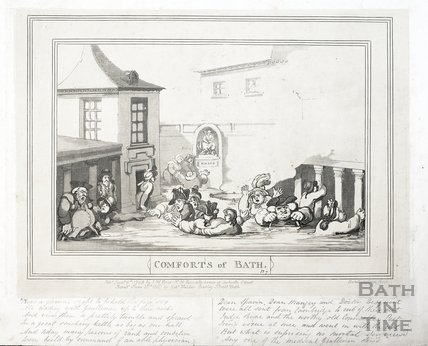 Comforts of Bath, Plate 7. The King's Bath 1798, republished 1857