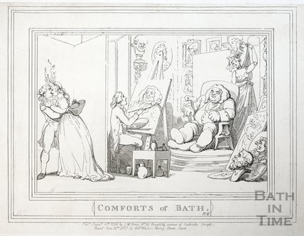 Comforts of Bath, Plate 6. The Artist's Studio 1798, republished 1857