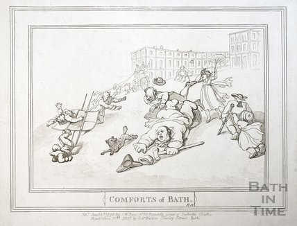 Comforts of Bath, Plate 12. The Royal Crescent 1798, republished 1857 - detail