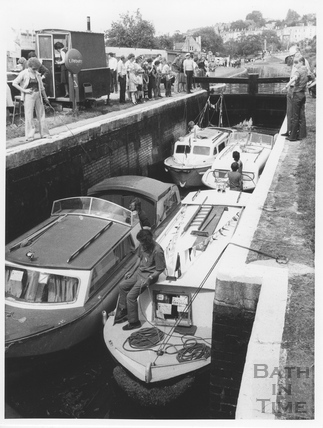Kennet and Avon Canal lock at Widcombe, Bath after reopening 1976
