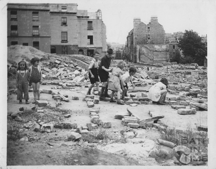 Children playing on a bomb site, Julian Road, Bath c.1950