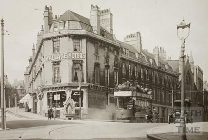 Prince's Buildings looking up Broad Street to Lansdown Road, Bath c.1920 - detail