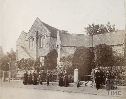 General view of front, showing staff in foreground, Twerton Parochial Schools, Bath 1870