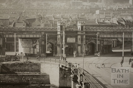 The Old Bridge and Brunel's railway viaduct, Bath c.1910 - detail