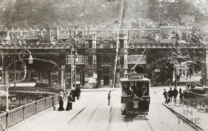 Electric Tram crossing the Old Bridge, Bath c.1900