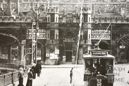 Electric Tram crossing the Old Bridge, Bath c.1900 - detail