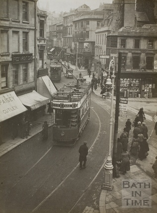 Electric tram, Kingsmead Square, Bath 1925