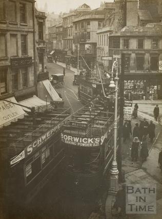 Electric trams, Kingsmead Square, Bath 1925