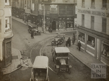 Electric tram, Westgate Place, Bath, February 1925