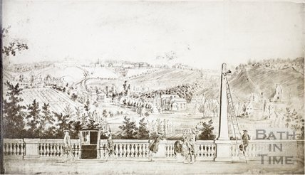View from balustrade of South Parade towards Prior Park, Bath c.1780