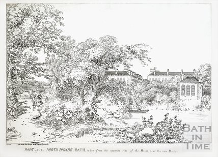 Part of the North Parade, Bath taken from the opposite side of the River, near the new Bridge 1788